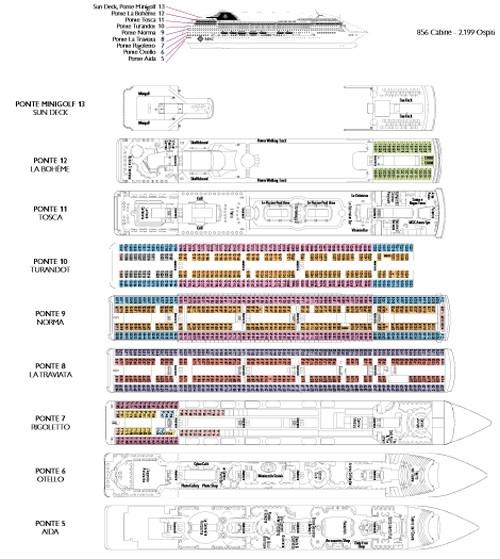 Piani navi costa e msc for Costa pacifica piano nave